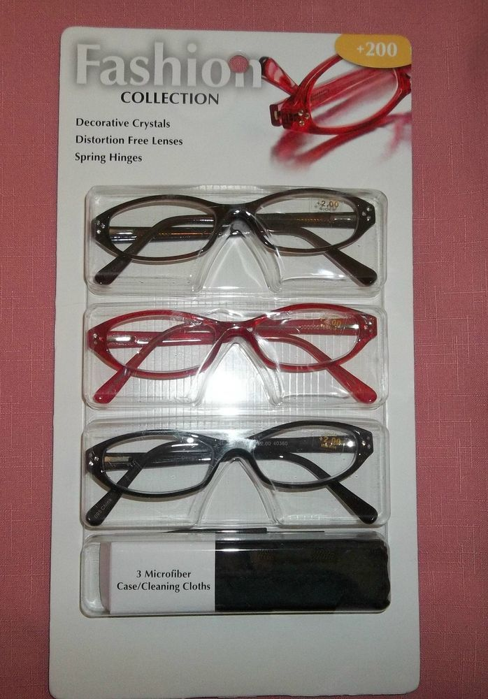 28671d08fa2 Foster Grant Womens Reading Glasses with Rhinestones 3 Pair 2 Blk 1 Red  +2.00 15