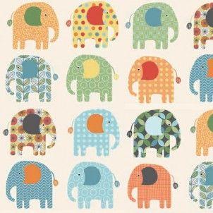Makower - Jungle Elephants - cotton fabric
