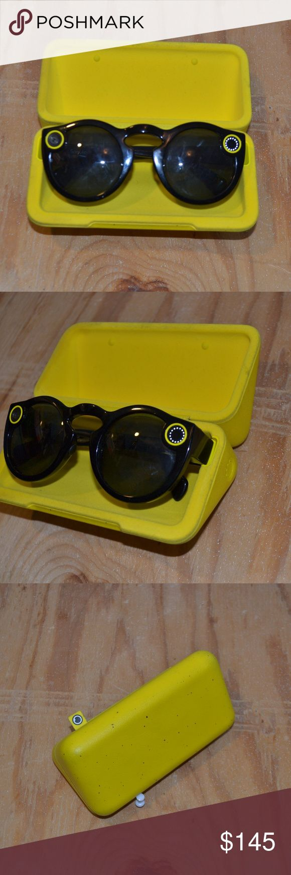 Snapchat sunglasses ✨NEW LISTING✨ Unisex | Snapchat glasses for fun on snapchat | 360 view | Great for heavy snapchat users or when going on special trips | First person perspective | Includes charging case & Charger | Charging case holds 5 full charges to recharge batteries Accessories Glasses