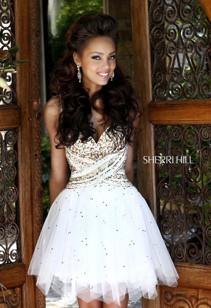 Dancing queen dress short gold and white