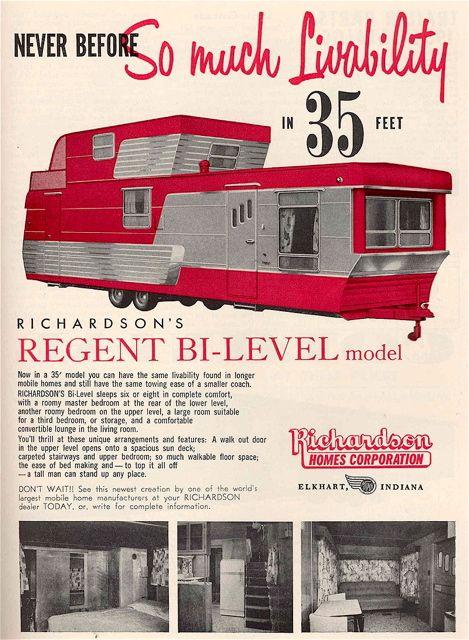 Richardson 39 s regent bi level trailer ad 1950 39 s vroom for Ad house
