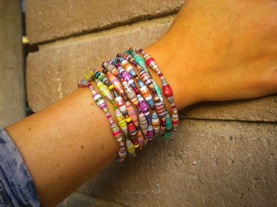 paper bead bracelets - these are made in the Philippines, but would be fun to make... I had some once made from church bulletins