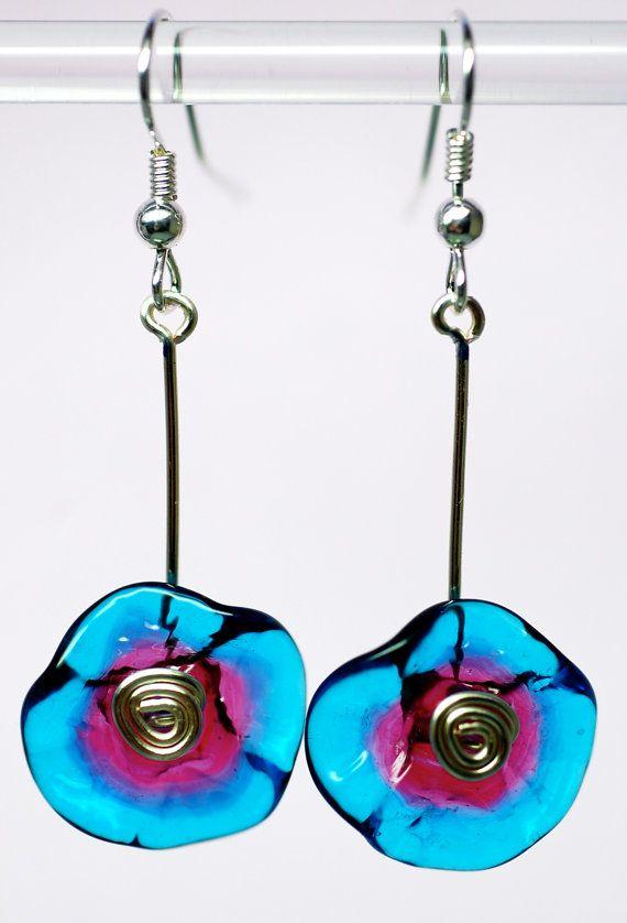 sale jewelry silver handblown glass drop earrings par paulbead, $17.00