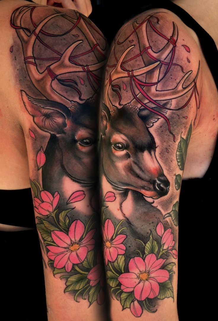 Buck And Doe Tattoos For Couples: 37 Best Images About Deer Tattoo/ Designs On Pinterest