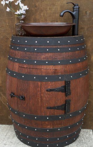 """Amazon.com: French Oak Wine Barrel Bathroom Vanity Cabinet with Hammered copper Sink and """"Oil Rubbed"""" Faucet. SS120MH: Handmade"""
