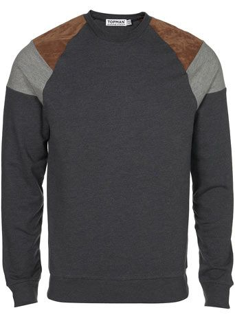 topman charcoal suede patch raglan