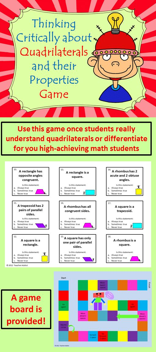 There are 36 different cards for this game. Each card has a statement about quadrilaterals and three options for the student to choose from: a. always true, b. sometimes true, or c. never true. The student has to choose one option. $