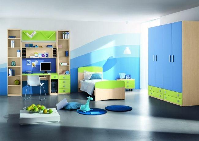 chambre pour garçon en nuances de bleu et vert lime