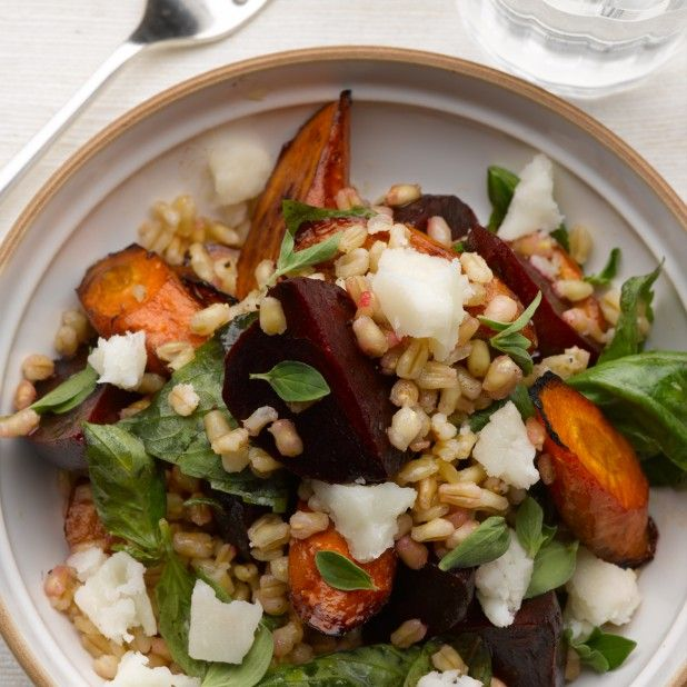 Split wheat and beetroot salad. This recipe offers a multitude of textures, as well as intense colours. Whole wheat or freekeh can be substituted for split wheat. Pearl barley is another option: it will save you the overnight soaking and won't take so long to cook. Toasted walnuts give another layer of earthy flavours.