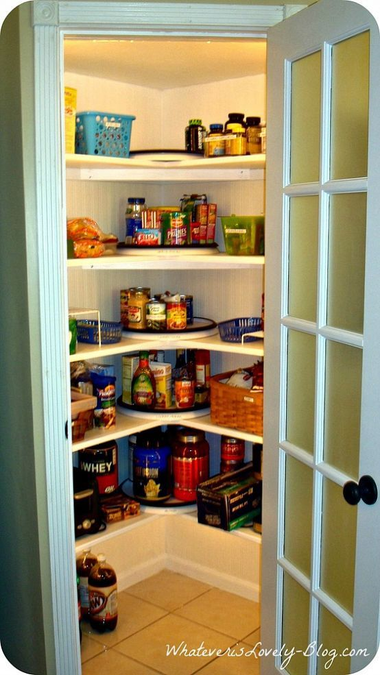A corner pantry made from scratch in the corner walk in for Pantry ideas for a small kitchen