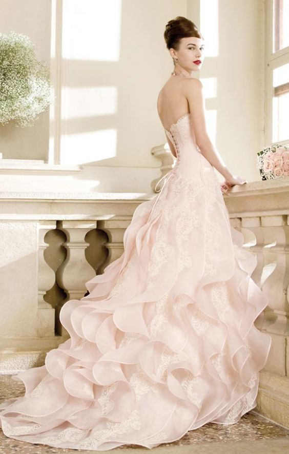 Strapless Blush Ruffled Skirt Ballgown Wedding Dress