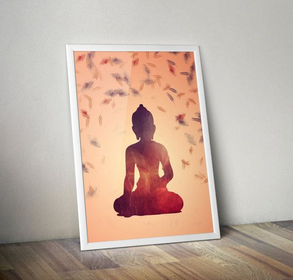 Buddha in orange purple and red hues on yellow background- decorative digital printable wall art - ready to frame  This is a digital file that you