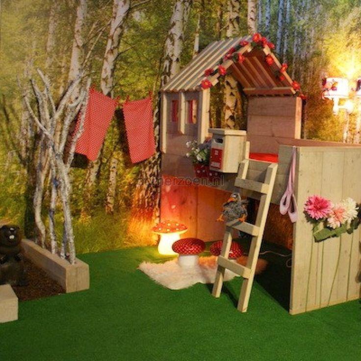 Steigerhouten Kinderkamer Vogelhuisbed is een mooi huisjesbed voor zowel jongens als meisjes.
