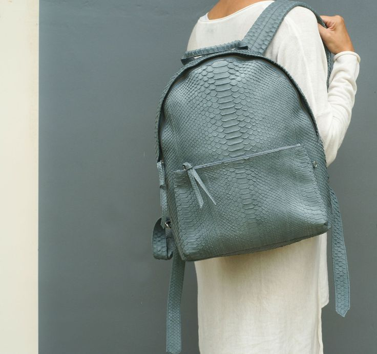 Antique Python Leather Handbag.  Leather Handbag. Real Leather bag.  Vintage Python Leather Handbag. Summer leather bag. by StudioANTU on Etsy