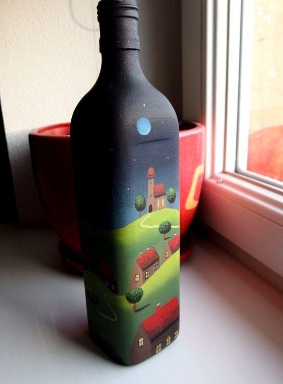 Láhev+zeleniny+Dnes+ještě+jedna+porce+zeleniny,+tentokrát+ve+skle,+teda+na+skle+:-)+Skleněná+láhev+ručně+malovaná+ze+všech+stran.+Je+to+zřejmě+sedmička,+nemůžu+rozluštit+,+ale+vysoká+je+28+cm+a+jedna+strana+hranaté+lahve+měří+7+cm+:-)