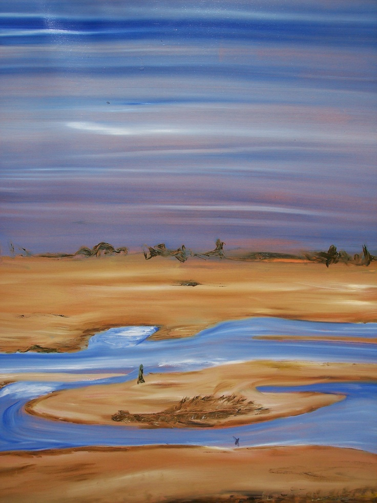 Julie Proudfoot- Oil on Canvas - 48x60 inches - 'Eppalock Boat Ramp, drought 2004'