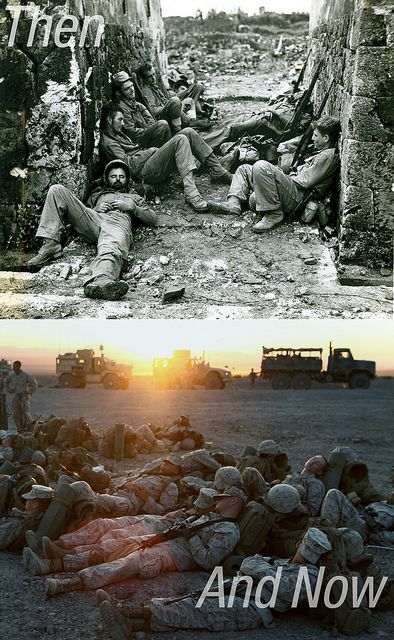 Uniforms and battlegrounds may change, but Marines remain the same breed. Marine Pride!!