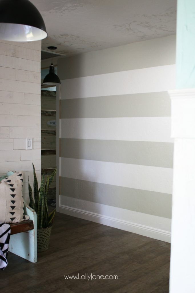 Diy Striped Accent Wall With Gray White Stripes Lolly Jane Striped Accent Walls Accent Wall Diy Accent Wall