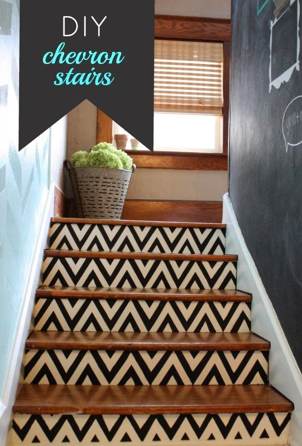Chevron painted stairs... When we remove the carpet on our stairs into the basement... could be cool