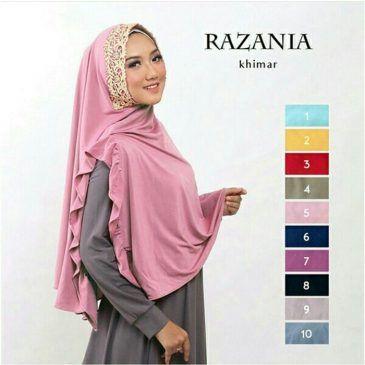 Jilbab Instant Khimar Razania jersey, Jilbabinstant belah tengah, dengan renda prada di sekeliling wajah, serta variasi rempel di bagian tengah yg dapat dikesampingkan seperti pada gambar, cantik dan syari