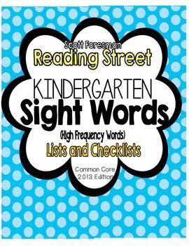 Reading Street Kindergarten Sight Word Lists and Checksheets