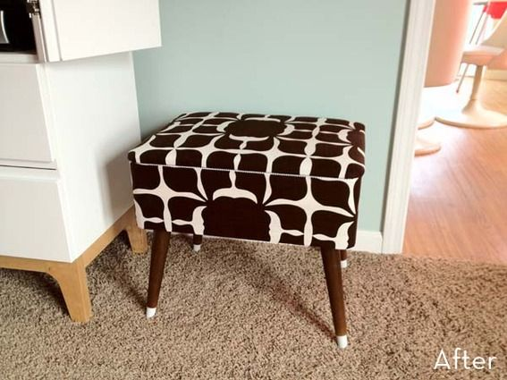 Cute ottoman makeover using a shower curtain as fabric! Smart and budget-friendly.