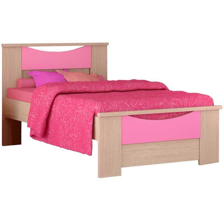 """Παιδικό κρεβάτι ημίδιπλο """"ΧΑΜΟΓΕΛΟ"""" δρυς-ροζ 110x190εκ."""