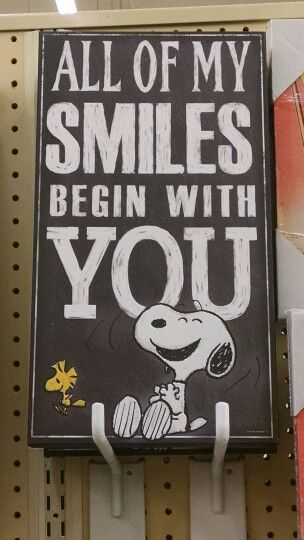 Charlie Brown nursery theme. All of my smiles begin with you. Hobby Lobby.
