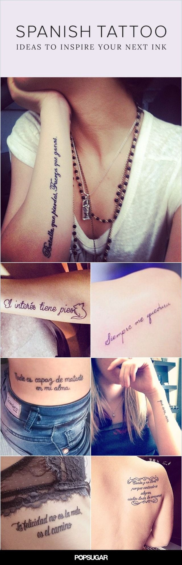 Whether it's a quote to honor your Latin roots or a simple word that speaks to you, a permanent mark in Spanish is just the perfect amount of mysterious and meaningful.