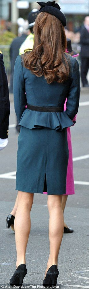 Unmistakably classy down to the curls... On an official trip with the queen 2012. LK Bennett outfit (Davina dress)