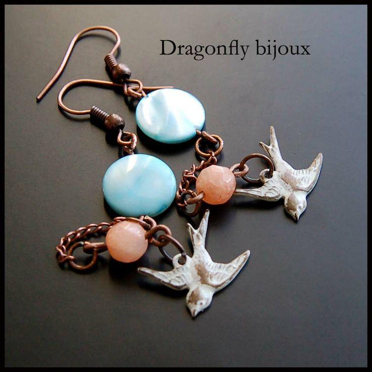 vintage handmade earrings swallows