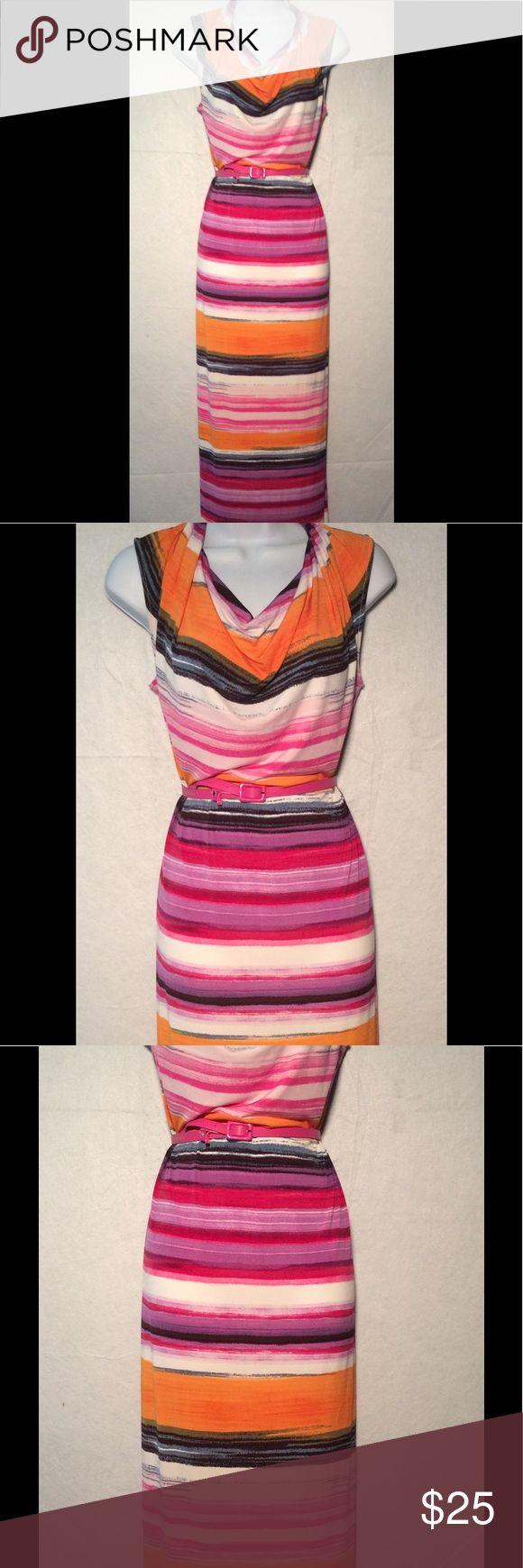 """Sz 6 Calvin Klein Multi Color Maxi Dress With Belt MEASUREMENTS-armpit to armpit 18"""", length from shoulder to hem 56"""" Calvin Klein Dresses Maxi"""
