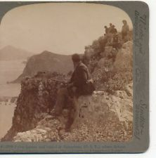 Greek with Rifle overlooking Pylos Harbor Greece Underwood  c.1900