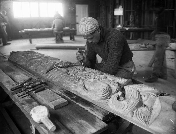 Pine Taiapa. Master carver from Tikitiki, East Coast, New Zealand.