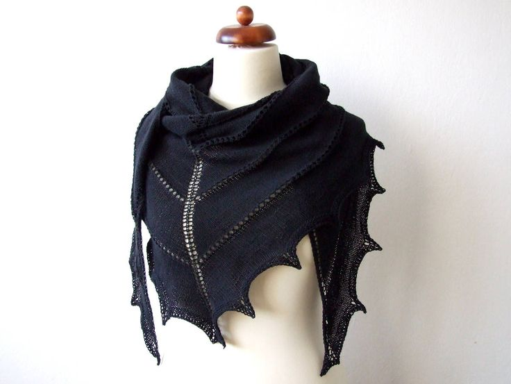 New: large cotton/acrylic triangular shawl. Light, soft, delicate, easy to drape, comfy to wear.  http://etsy.me/2jfK3JM   #accessories #shawl #black #knitshawl #cottonshawl #etsy