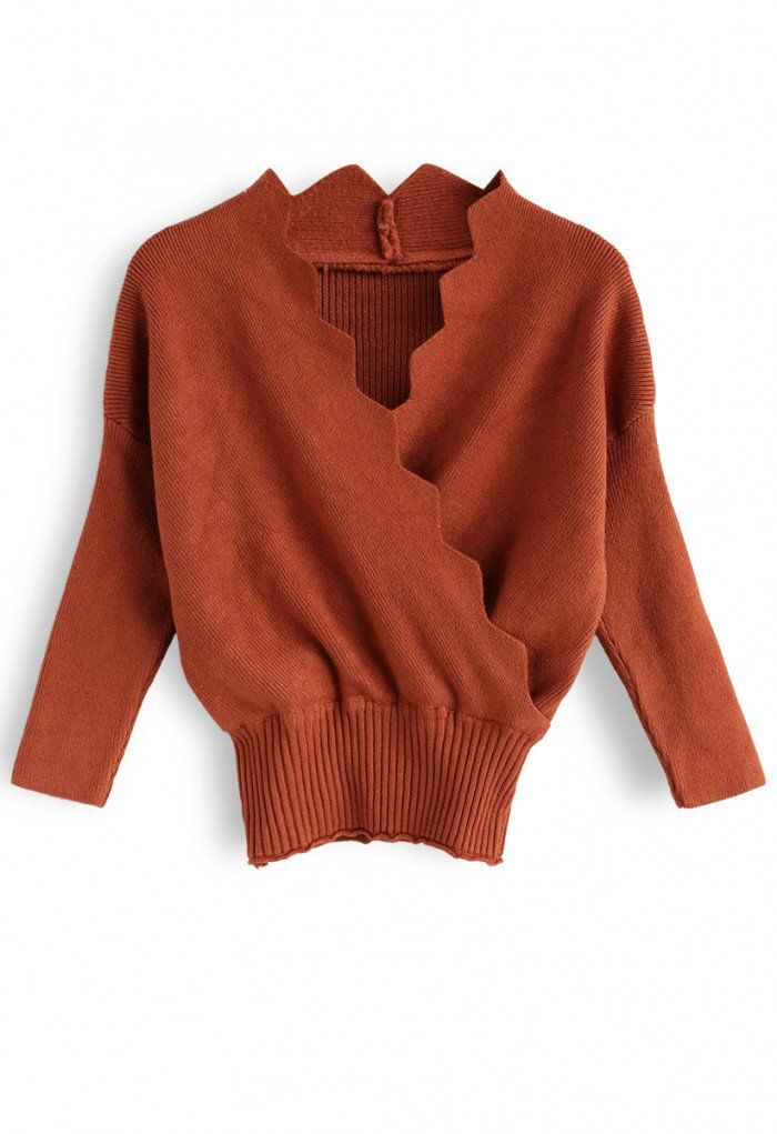 4d571ac8558f8 Cafe Time Wavy Wrap Knit Top in Caramel - Sweaters - TOPS - Retro ...