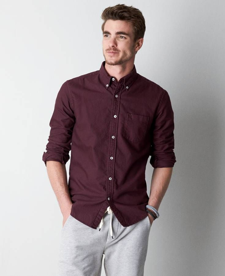 American Eagle Solid Oxford Button Down Shirt, Men's, Maroon