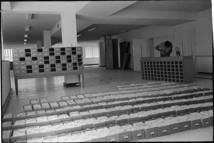 319551PD: Installing the catalogue after moving to Henley House, 102 Beaufort Street, Perth, November-December 1969  https://encore.slwa.wa.gov.au/iii/encore/record/C__Rb3430669