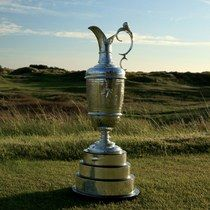 The Claret Jug on the tee at the par-3 seventh hole at Royal Birkdale Golf Club, the host course for the 2017 Open Championship.