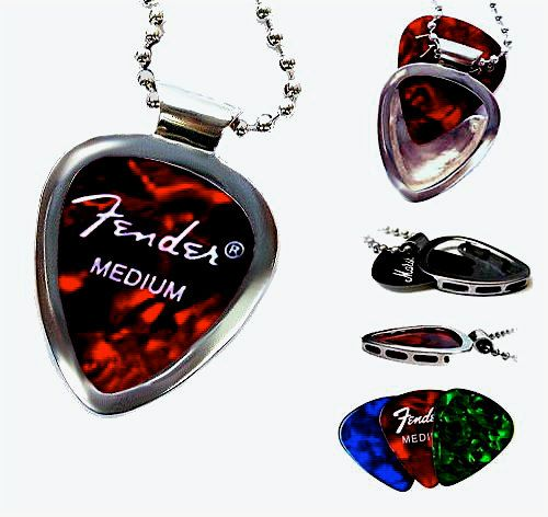 PICKBAY guitar pick holder pendant necklace MUSICIAN gift SOLVED Guitar Player gift Classic Stainless Steel Set