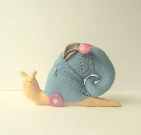 Snail Toy denim toy stuffed Snail. Cute toy by CherryGardenDolls