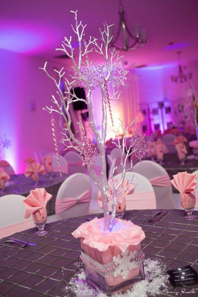 Centerpieces at a winter wonderland birthday party! See more party planning ideas at CatchMyParty.com!