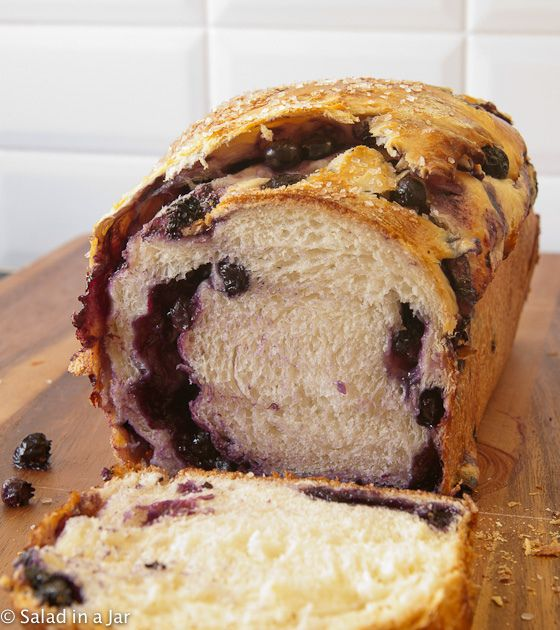 Blueberry-Stuffed Sally Lunn Bread (Mixed in a Bread Machine) - like a light as a feather pound cake with freshest blueberry jam