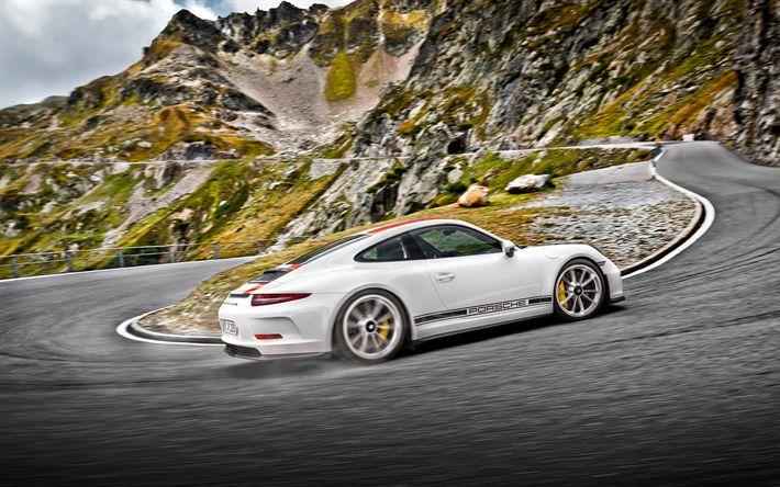 Download wallpapers Porsche 911 R, 4k, 2017 cars, mountain road, supercars, Porsche