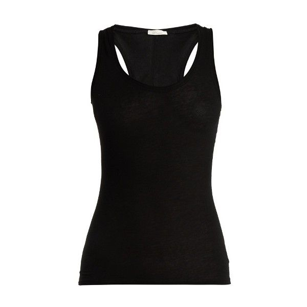 Skin Cotton-jersey tank top ($56) ❤ liked on Polyvore featuring tops, black, cotton jersey, scoopneck top, racer back tank, scoop neck tank top and racer back top