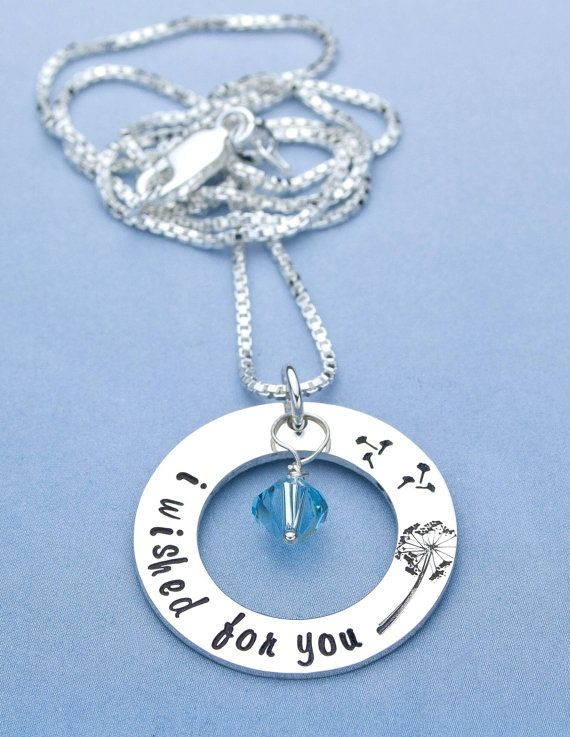 I Wished For You Hand Stamped Necklace, Mommy Jewelry, Mothers Necklace, First Time Mom, Baby Shower Gift, Pregnancy Gift by jessiegirljewelry. Explore more products on http://jessiegirljewelry.etsy.com