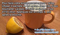 Envie d'avoir un joli teint doré sans vous exposer au soleil ? Il n'est parfois pas possible de bronzer naturellement. Alors, pour cela il existe un autobronzant naturel.  Découvrez l'astuce ici : http://www.comment-economiser.fr/autobronzant-citron.html