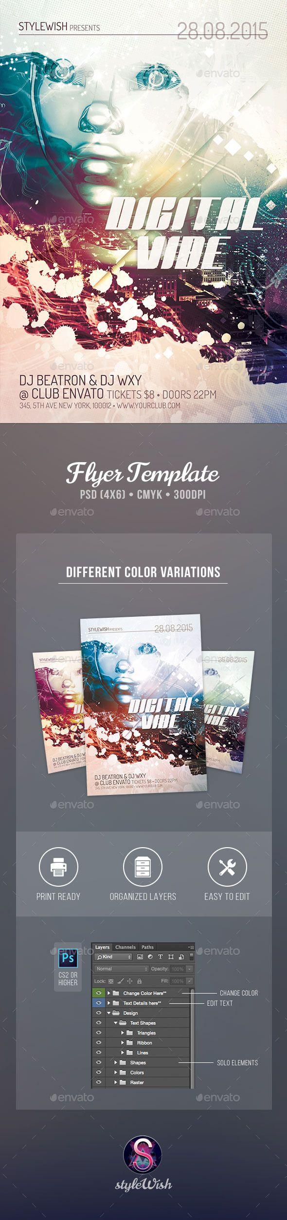 Digital Vibe Flyer Template #prospectus #flugblatt  Download: http://graphicriver.net/item/digital-vibe-flyer/12137762?ref=ksioks