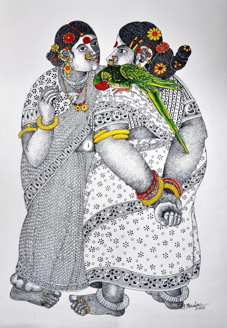 Women with parrot 3 by narahari bhawandla