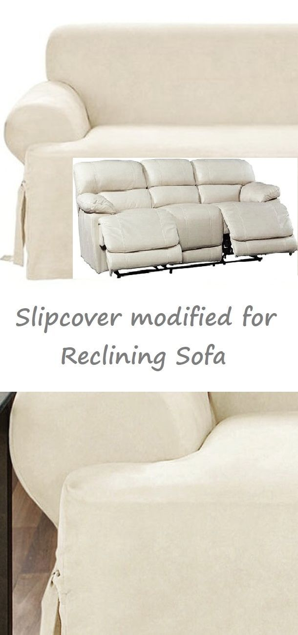 Dual Reclining Sofa Slipcover T Cushion Suede Cream Sure Fit Couch